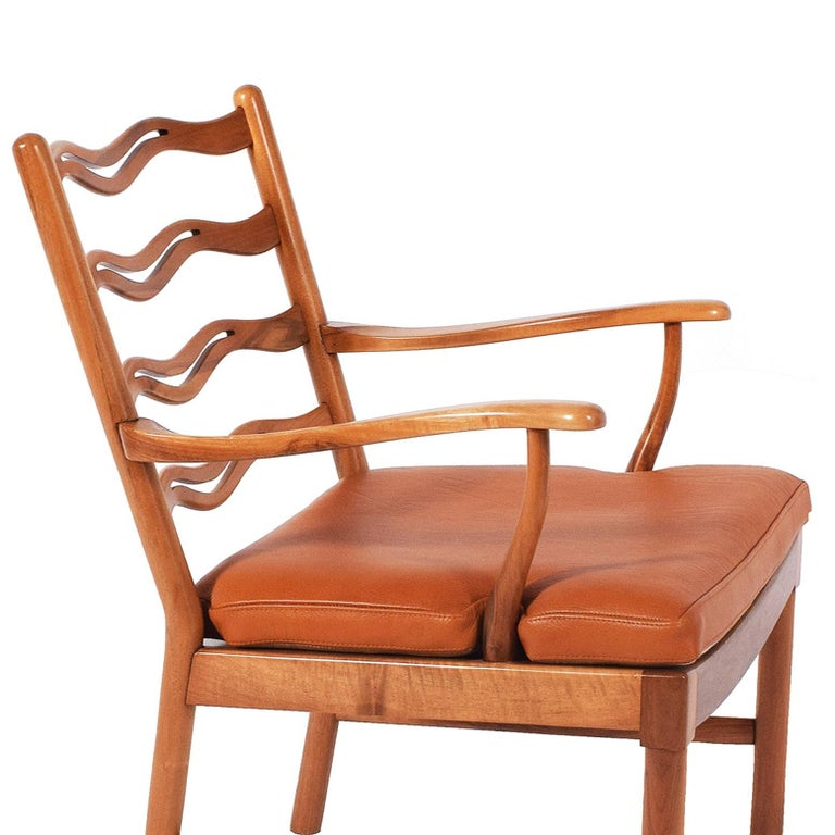 Mid-20th Century Walnut Armchair by Ole Wanscher for Fritz Hansen, 1944 For Sale