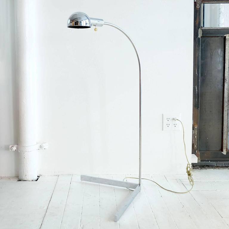 Cedric Hartman floor lamp chromed metal.  This item is currently on view in our NYC Greenwich Street Location.