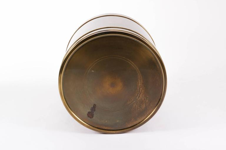 American Mastercraft Brass Drum Table For Sale