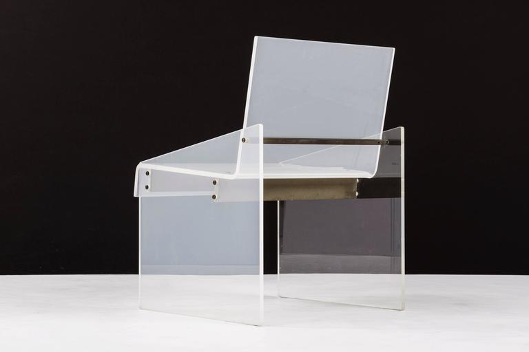 American Lucite Chair in the Style of Charles Hollis Jones For Sale