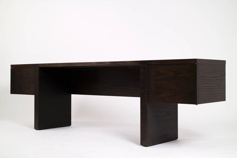 Edward Wormley Dunbar shallow desk or console credenza. Three drawers and one file drawer.  Signed, Dunbar.