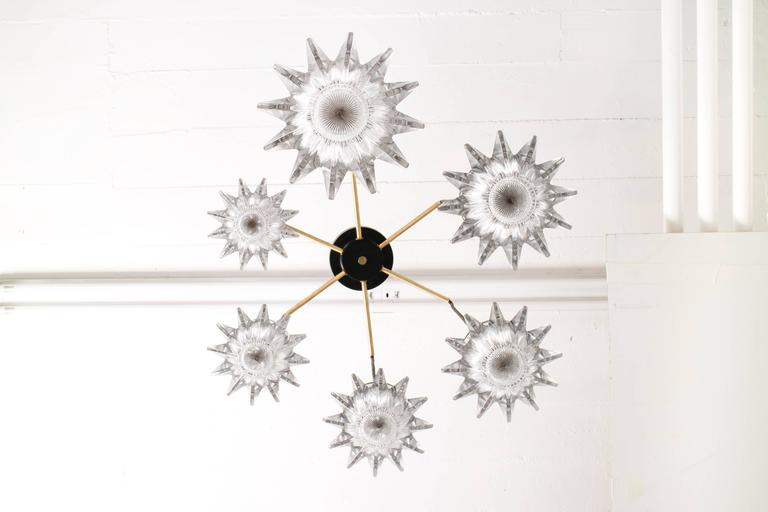 Finnish Six Hanging Torch Chandelier For Sale