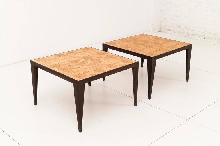 Pair of unique handcrafted side tables with maple book-matched top with wengewood legs. by Uruguayan craftsman Roberto Sorrondeguy.