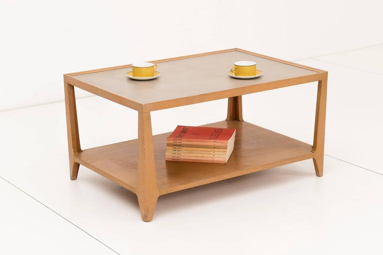 Edward Wormley for Drexel's precedent line. Leather top two-tier coffee table made of mahogany.