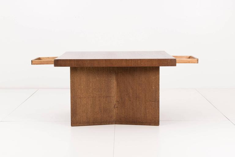Frank Lloyd Wright Partners desk from the Dorothy Turkel house in Detroit Michigan. This angular desk is made from mahogany plywood. Features a drawer to each side.