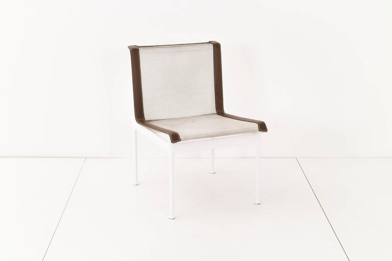 Richard Schultz 1966 series Knoll. Set of four outdoor dining chairs Model No. 1966-46-H. Seat and back are woven vinyl coated polyester mesh with vinyl straps and stainless steel support and connects. The frame is cast and extruded aluminium with a
