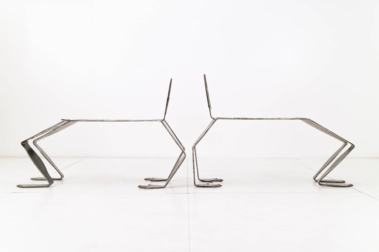 American Pair of Sculptural Metal Benches For Sale