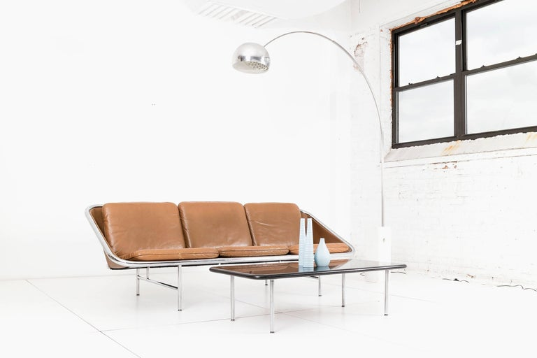 Model 6832 designed in 1963 by George Nelson & Associates for Herman Miller. Chrome-plated tubular steel frame with neoprene reinforced rubber decking and straps.