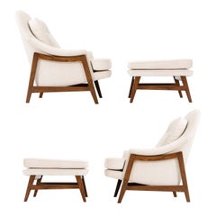 Pair of Dunbar Janus Collection Lounge and Ottomans