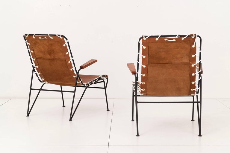 American Pair of Sling Lounge Chairs by Pipsan Saarinen Swanson For Sale