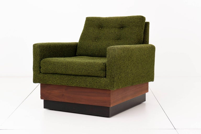 Pearsall for Craft Associates Pair of Lounges with original Green wool blend with walnut and lacquer two stage bases.