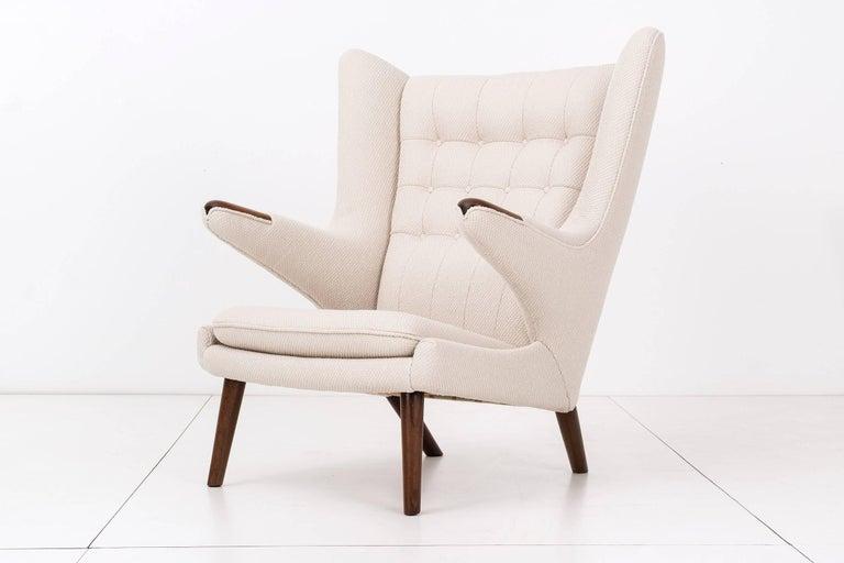 Scandinavian Modern Hans J. Wegner Papa Bear Chair and Ottoman For Sale
