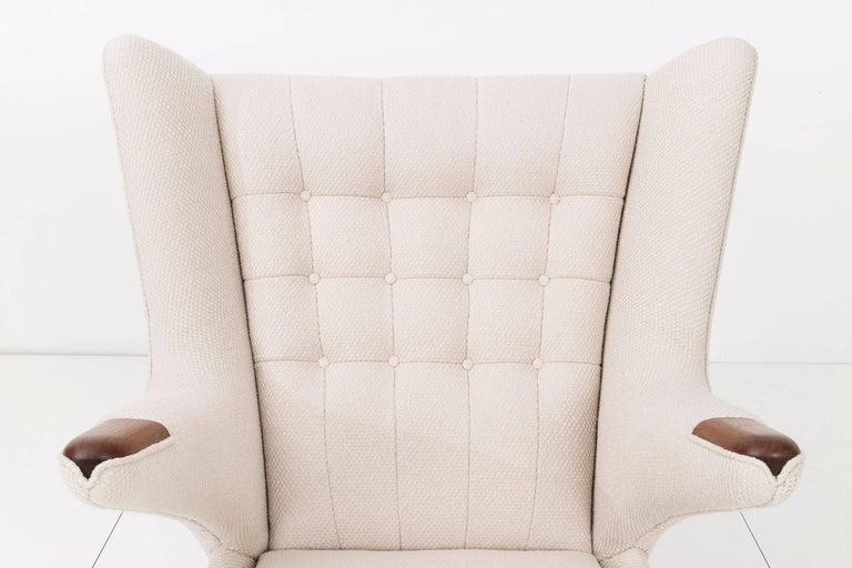 Oiled Hans J. Wegner Papa Bear Chair and Ottoman For Sale