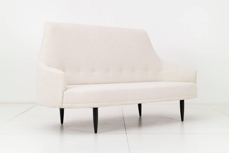 Pearsall for Craft Associates, curved back slope arm sofa, reupholstered with
