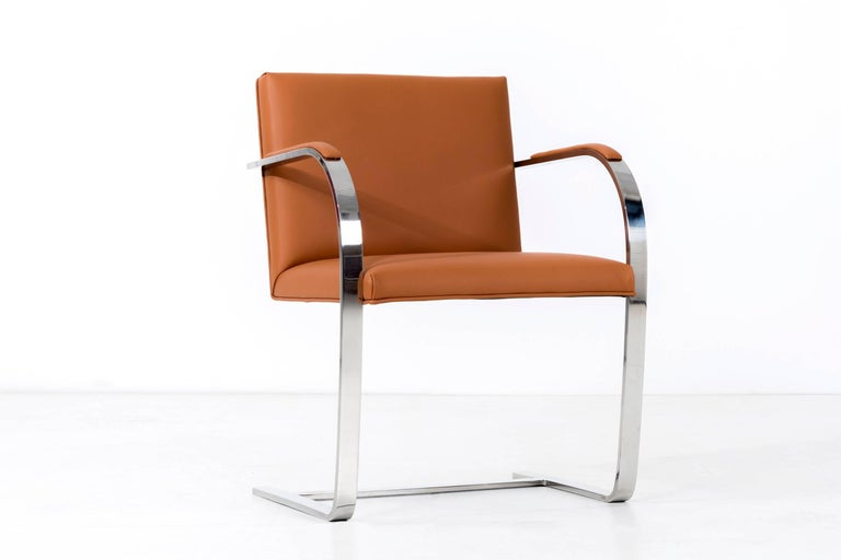 Stainless Steel Set of 12 Brno Leather Dining Chairs For Sale