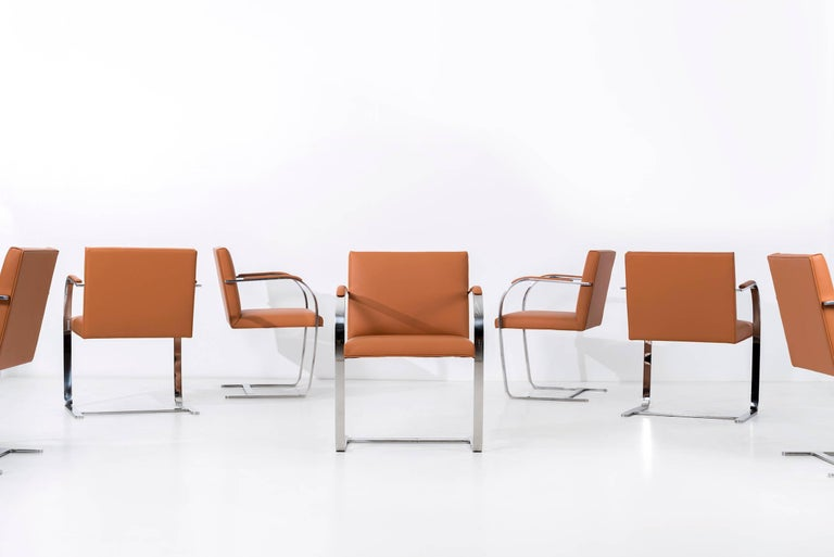 International Style Set of 12 Brno Leather Dining Chairs For Sale
