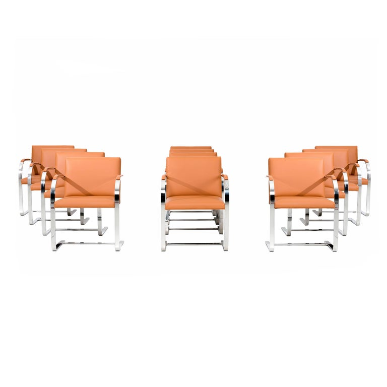 Set of 12 Brno Leather Dining Chairs For Sale