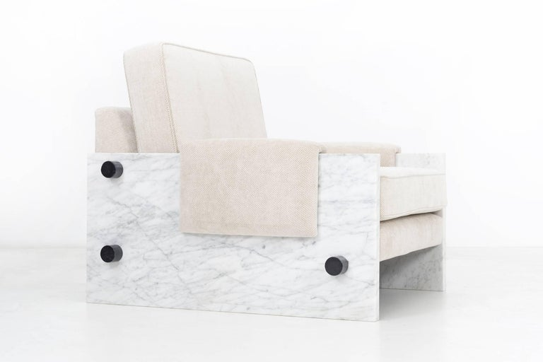 In the Style of Ettore Sottsass Set of Marble Chairs For Sale 1