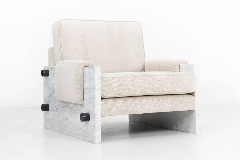 Upholstery In the Style of Ettore Sottsass Set of Marble Chairs For Sale