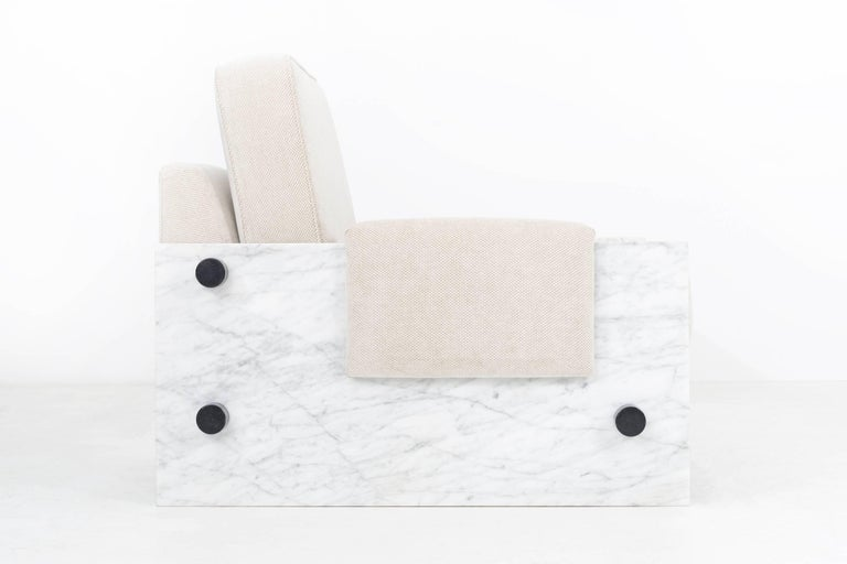 In the Style of Ettore Sottsass Set of Marble Chairs For Sale 2