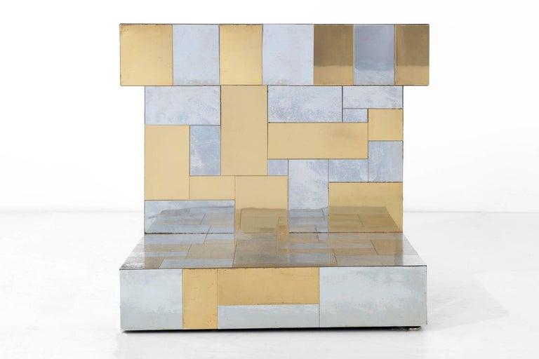 Brass Paul Evans Cityscape Side Table For Sale