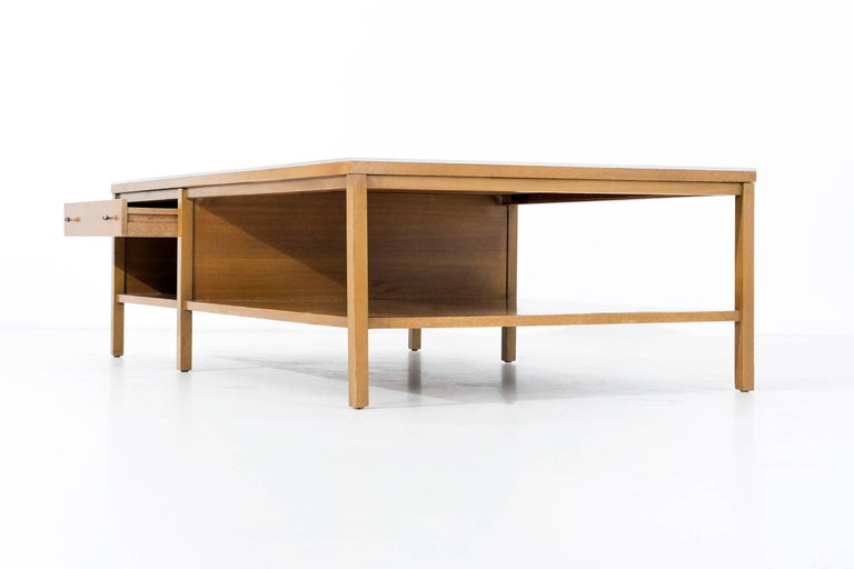American Paul McCobb Leather Top Coffee Table For Sale