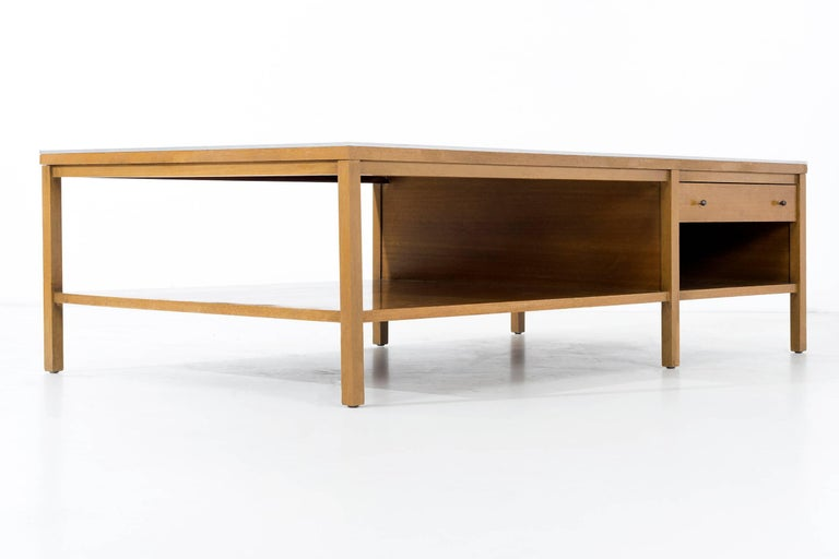 Mahogany Paul McCobb Leather Top Coffee Table For Sale