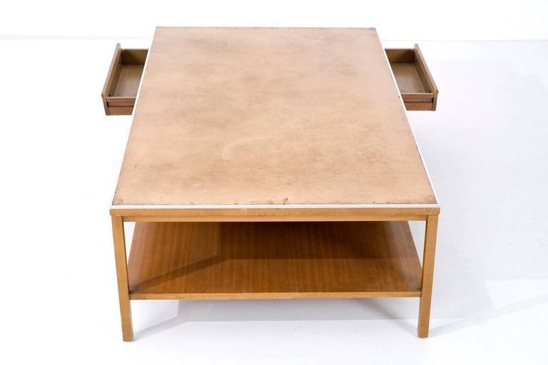 Mid-20th Century Paul McCobb Leather Top Coffee Table For Sale