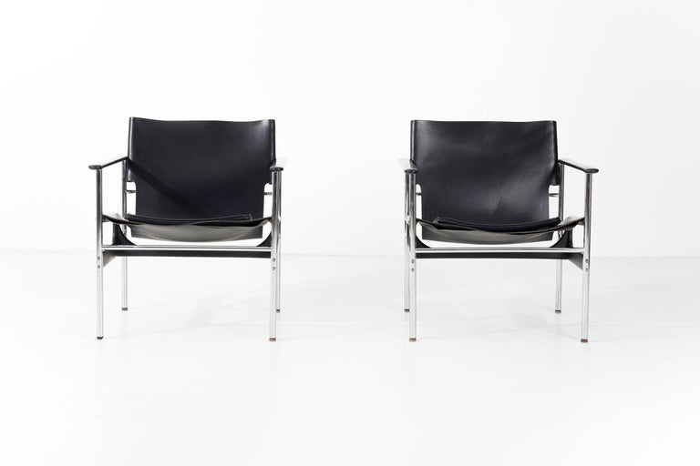 Mid-Century Modern Pair of Charles Pollock Black Leather Lounge Chairs For Sale