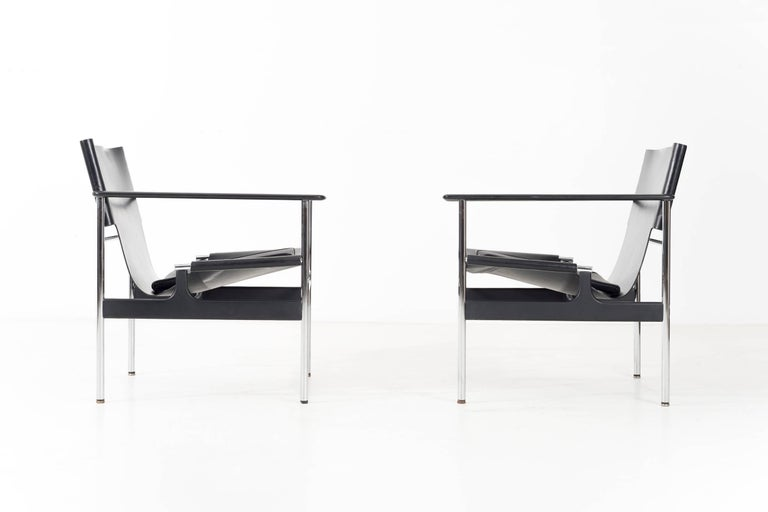 Pair of Pollock Sling chairs for Knoll. Model 657 Charles Randolph Pollock was an American modernist designer who was hired by the legendary George Nelson after graduating in Industrial Design from Pratt Institute in Brooklyn, New York. Pollock