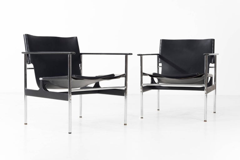 American Pair of Charles Pollock Black Leather Lounge Chairs For Sale