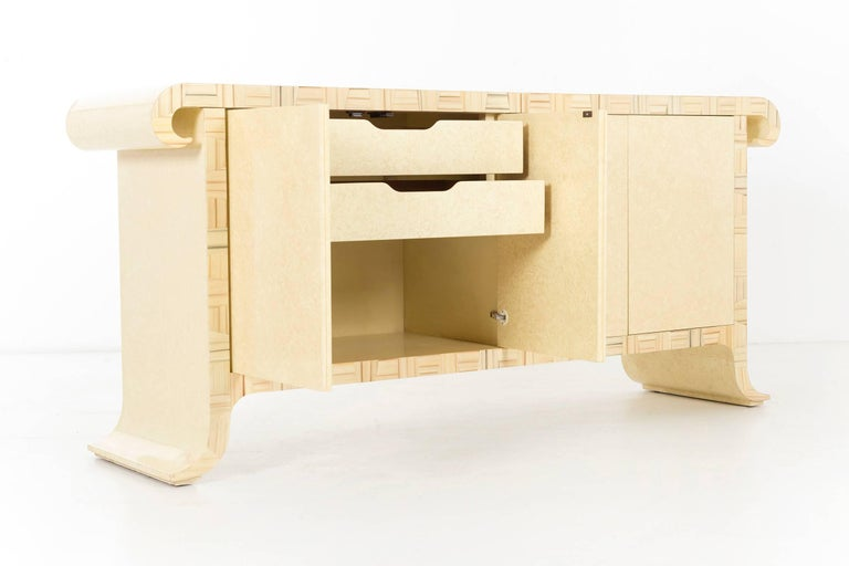 Parquetry Credenza by Alessandro for Baker, circa 1980 For Sale