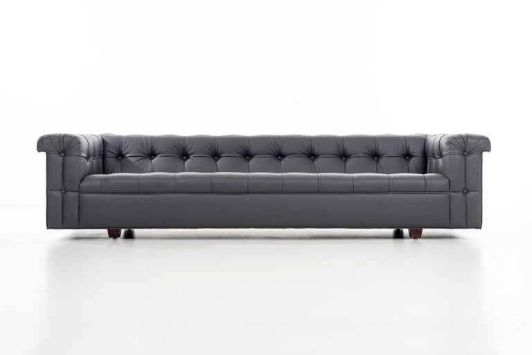 Edward Wormley for Dunbar Chesterfield sofa, reupholstered in spinney beck leather.