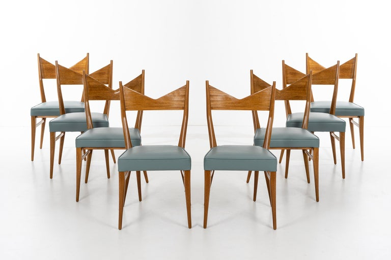 Paul McCobb for directional set of ten ribbon stripped mahogany and leather