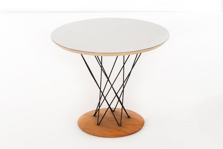 Noguchi for Knoll Cyclone table, steel spokes with laminated top and birchwood base, original condition with Knoll label.
