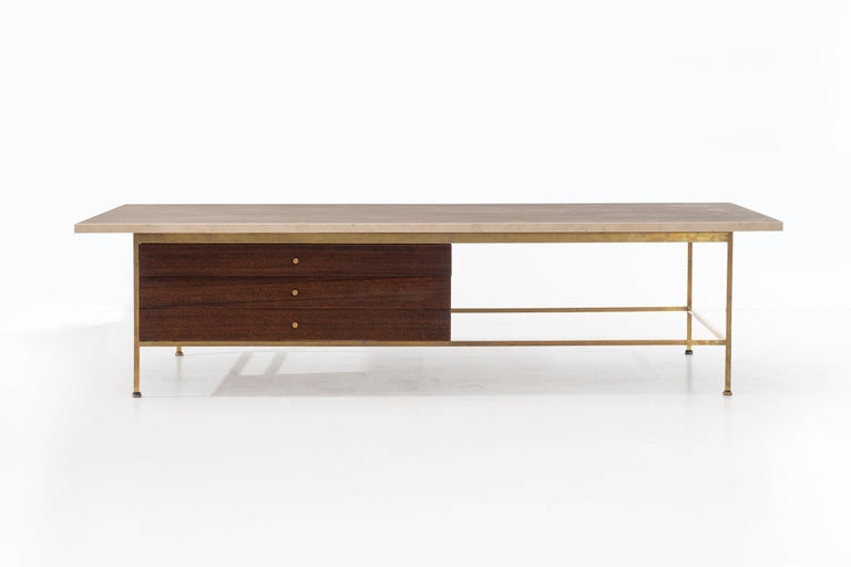 "Paul McCobb for Calvin ""Irwin Series"" travertine top coffee table."