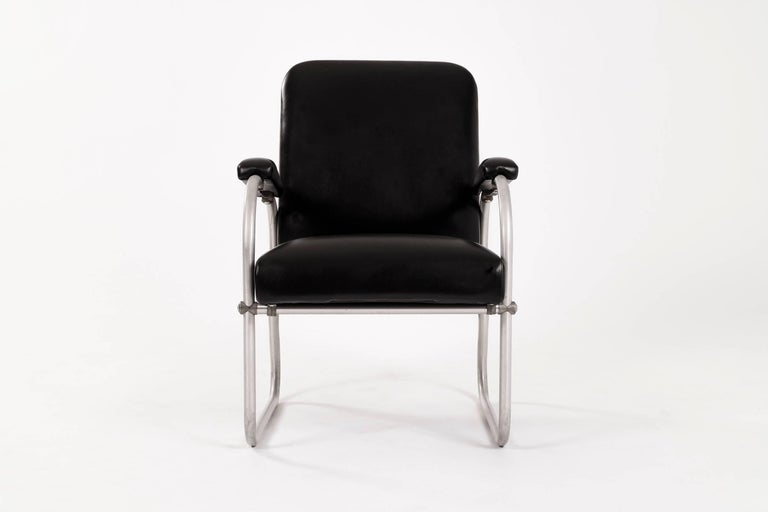Aluminum and leather lounges by Warren McArthur for Namco. Restored with spinney back leather.