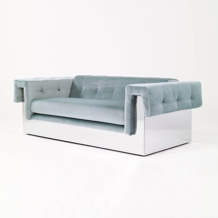 Pair of Baughman for Thayer Coggin sofas, modern version of classic Chesterfield sofa. Reupholstered with great plains mohair, features tufted buttons on back, inside/ outside arms. Frame cladded with high polished chrome-plated metal sheets.