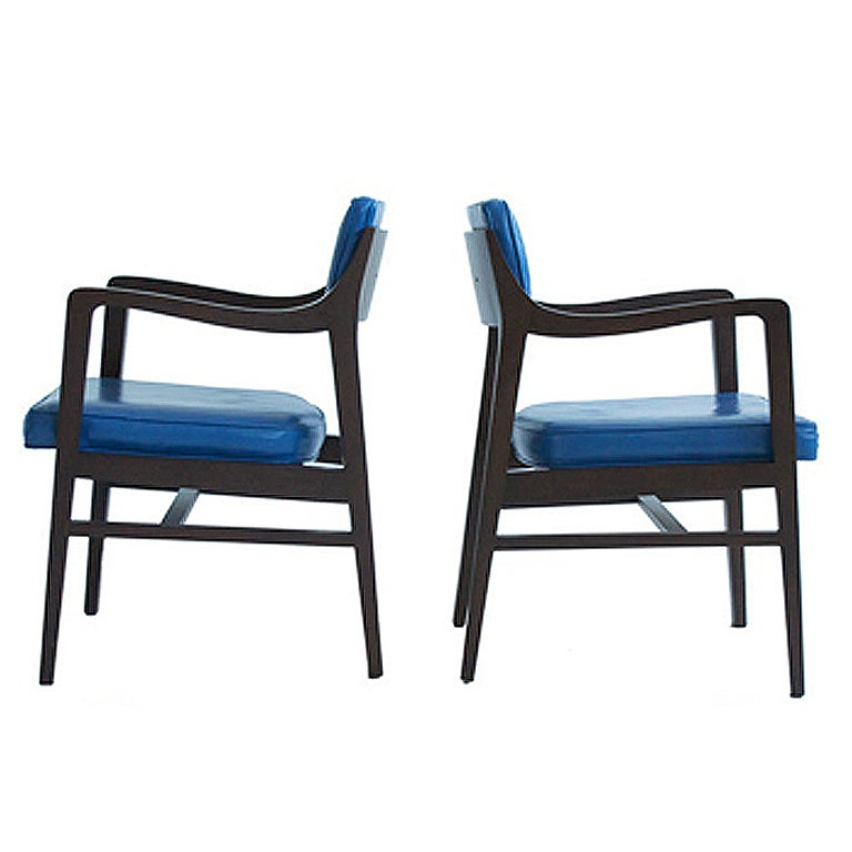 Edward Wormley Pair of Pull Up Chairs For Sale