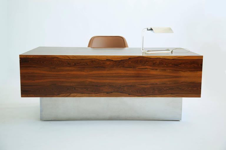 Milo Baughman Rosewood Executive Desk At 1stdibs