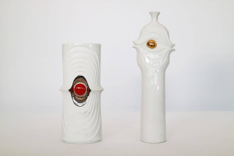 Rosenthal Vase, white, red, and chrome