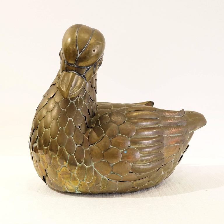 Mid-Century Modern Sergio Bustamante Brass Duck For Sale