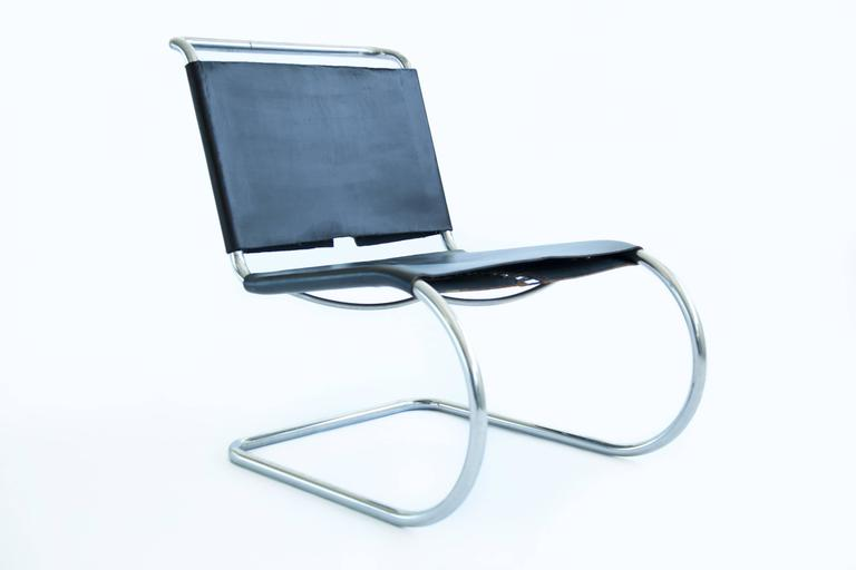 Plated Mies van der Rohe Sling Lounge Chairs For Sale