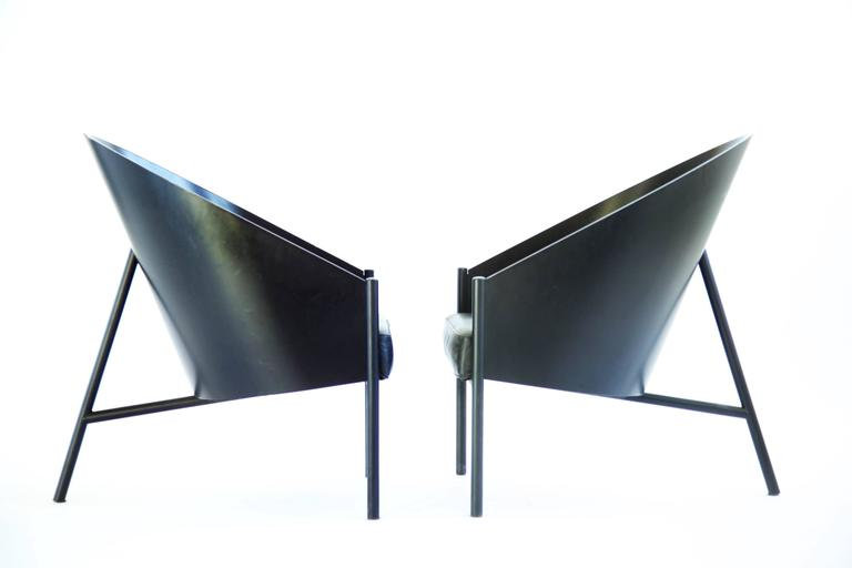 Pair Of Lounges Designed By Starck For Aleph Pratfall Easy Chair. Black  Lacquered Steel Frame