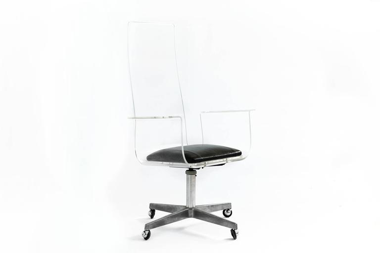 Lucite Desk Chair in the Style of Laverne at 1stdibs