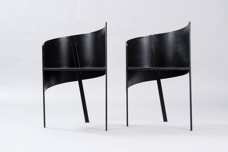 Paolo Pallucco for Gambe-Pallucco pair of curved three-leg chairs.