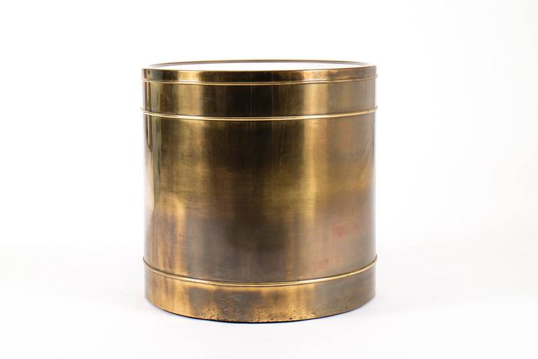 Mid-Century Modern Mastercraft Brass Drum Table For Sale