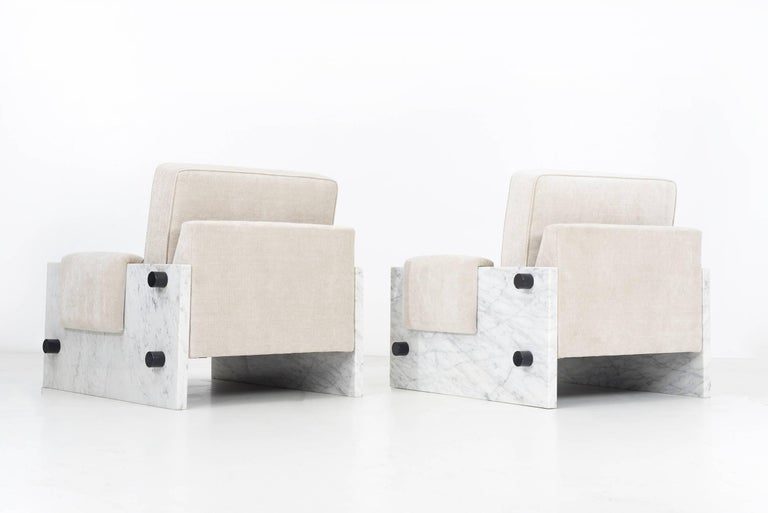 American In the Style of Ettore Sottsass Set of Marble Chairs For Sale
