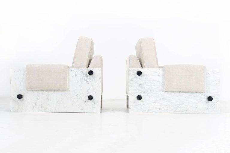 Post-Modern In the Style of Ettore Sottsass Set of Marble Chairs For Sale