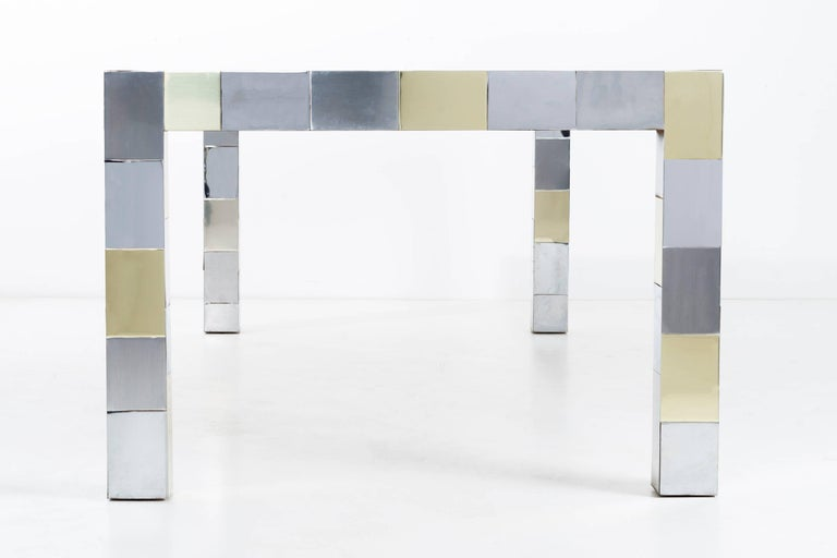 Evans for Directional Parsons dining table. Brass, chrome and brushed chrome metal mosaic brick geometric seamless linear pattern. [Singed Paul Evans] Pictured with and without leaves. Measure: 72